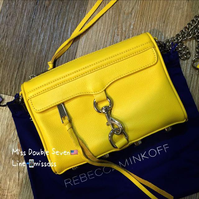 REBECCA MINKOFF Mini MAC-鮮黃色銀鍊