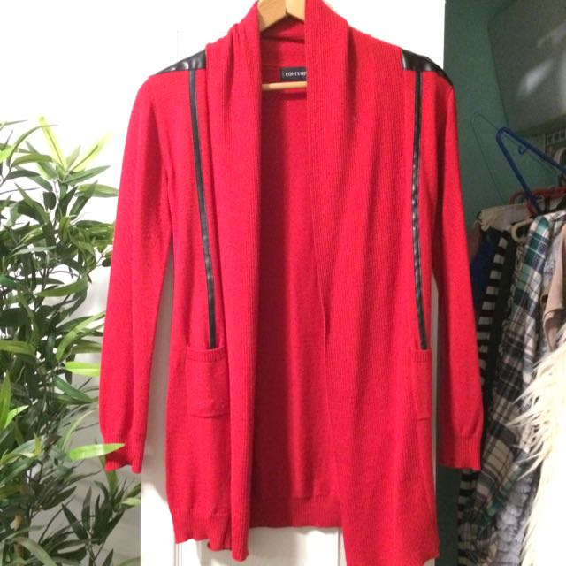 Red Cardigan W Faux Leather Paneling