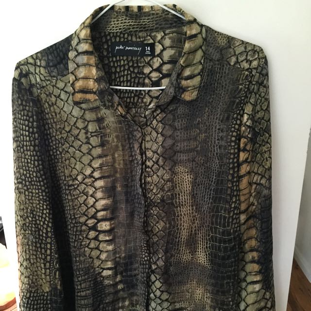 Reptile Patterned Button Up Blouse