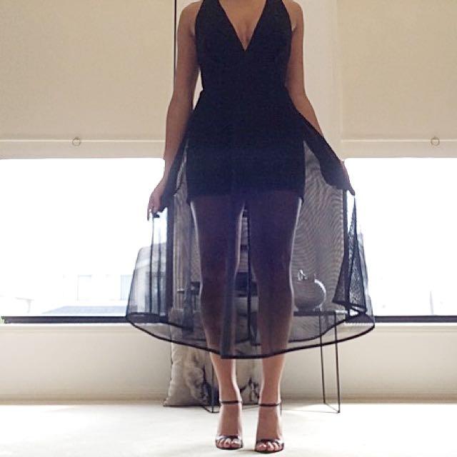 Sheike black mesh Cocktail Dress