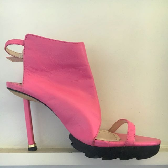 Unique Pink Leather Heels