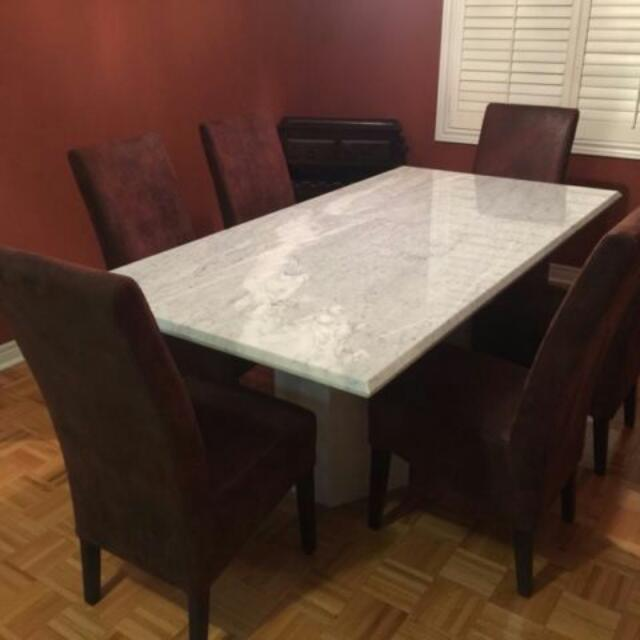 White Solid Marble Table