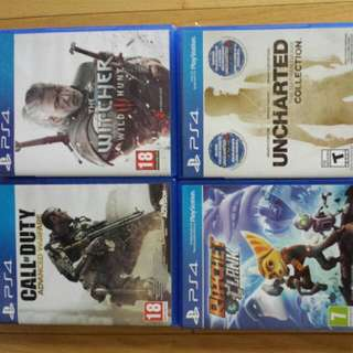 Witcher 3, Uncharted collection, Ratchet and Clank, COD:Advanced warfare