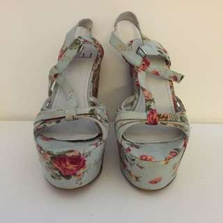 Blue Floral Wedges By Zu Shoes Size 7