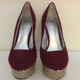 Zu Shoes, Red Suede Pumps With Gold Sequence Heels