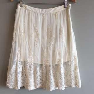 Ladies Dotti lace Boho Skirt, Size 10