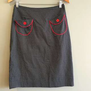 Little Potty Red Shoes Pencil Skirt, Pin Up Style, Size 12