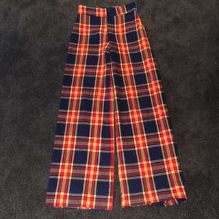 Vintage retro Tartan High Waisted Trousers Wide Leg Pants Aus 8 Small