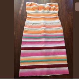 Herve Leger Bondage Colorful Dress