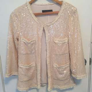 Cream Sequined Ladies Jacket By Zara