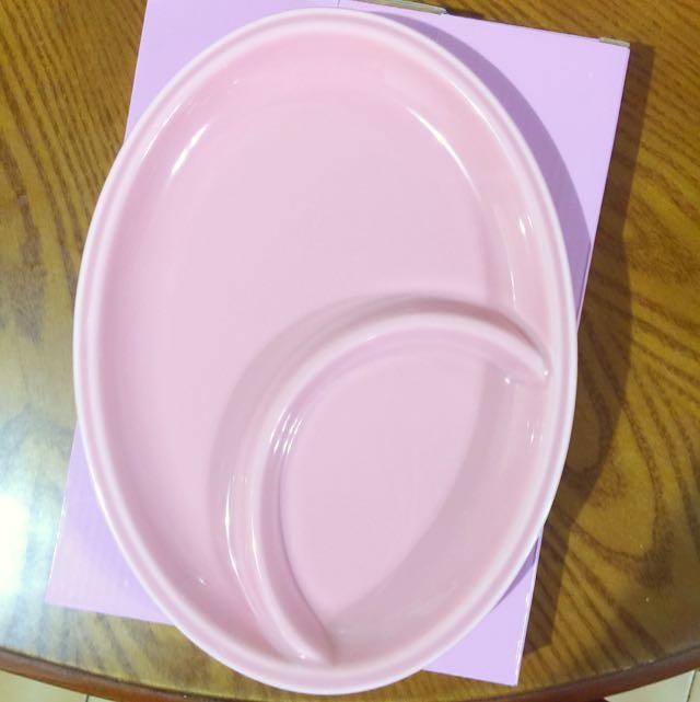 粉紅陶瓷10寸分隔餐盤