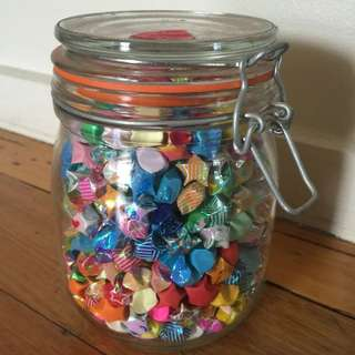 FINAL PRICE DROP - Jar Filled With Handmade Paper Stars