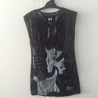 DKNY Girls Black Sequined Dress Size 10