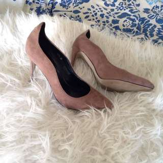 Nude Suede Tan Brown Heels