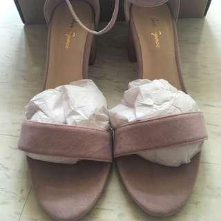 一字絨布跟鞋