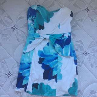 Cocktail Dress- Blue Floral Zip Up With Half Bow Detail