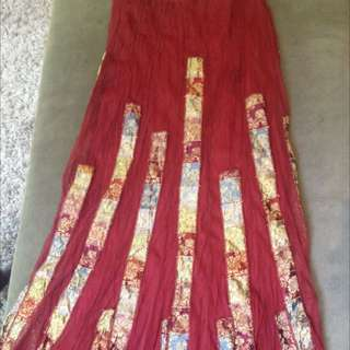 Quirky Vintage Layered Midi Hippy Skirt S