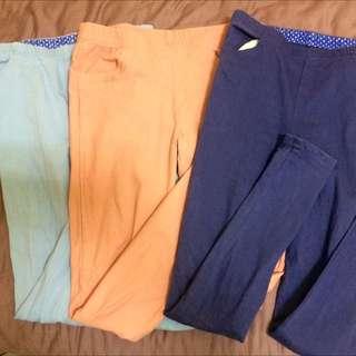 內搭窄管褲 天空藍 粉膚色 靛藍色
