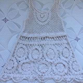 Beige Crochet/knit Top