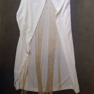 Open Back Gold Fringe Long White Top