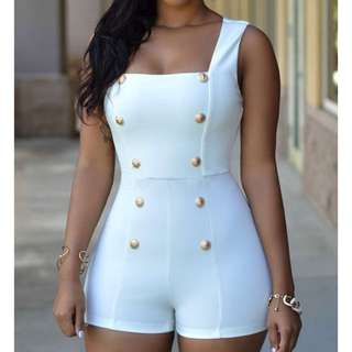 WHITE COLOR HALTER BUTTONS ROMPER