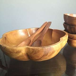 Vintage Hand Carved Monkey Pod Salad Bowl Serving Set