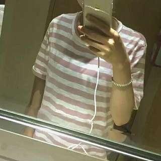 (全新)粉色條紋T