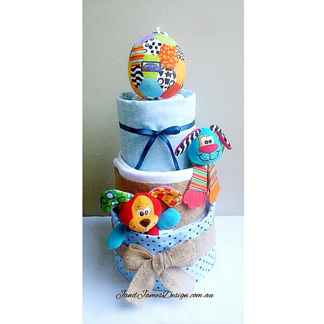 """3-Tier """"Play Time"""" Baby Boy Nappy Cake"""