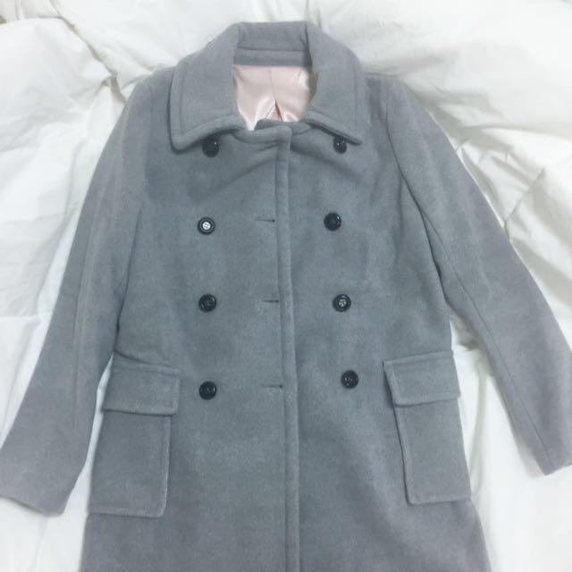 70%羊毛大衣雙排扣淺灰色外套 古著感
