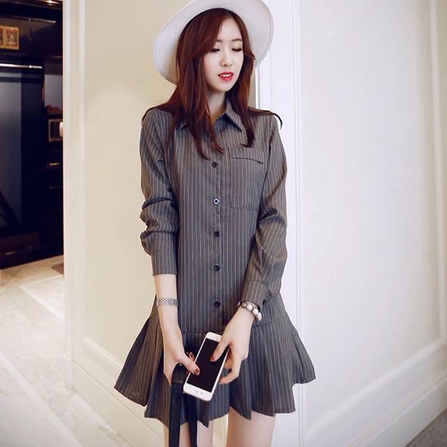 喂!氣質的韓版條紋襯衫洋裝