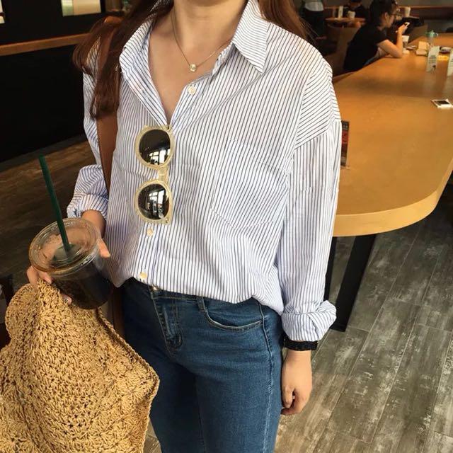 (全新)韓版翻領豎條紋長袖襯衫