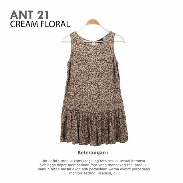 ANNTAYLOR - WOMAN DRESS RAYON CREAM FLORAL AND MARRON FLORAL