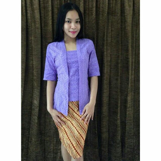 Batikrakyat Kebaya Kutubaru Emboss Pastel Polos Seragam Batik