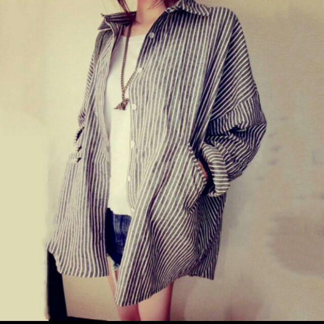 保留中  韓版BF風 寬鬆顯瘦直條紋襯衫外套