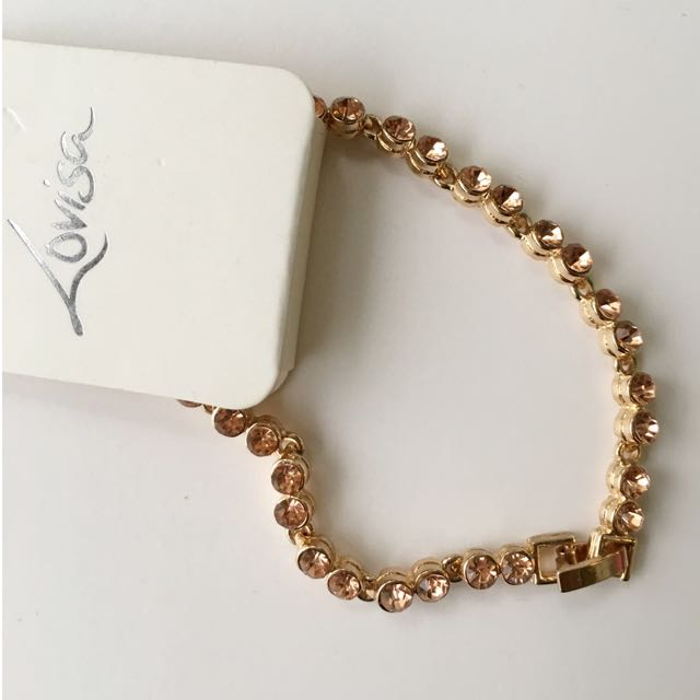 BN Ladies' Bracelet In Copper Tone/Rose Gold With Crystals!