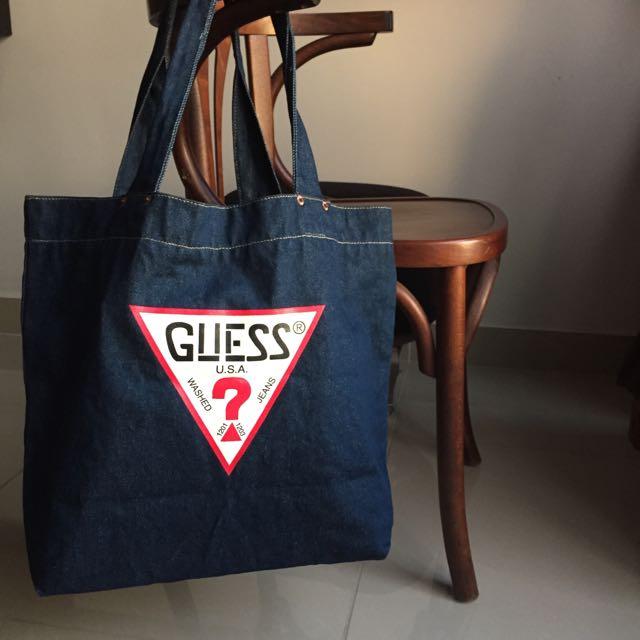 Vintage Guess Denim Tote Bag Women S Fashion Bags Wallets On Carou