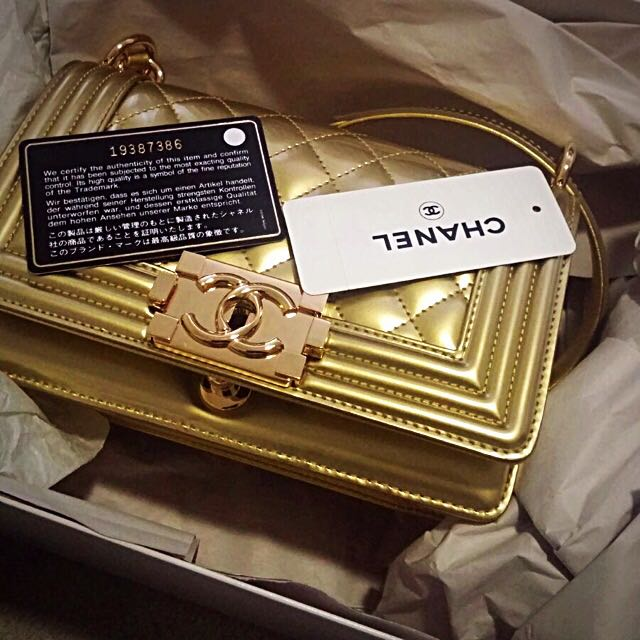 Chanel Boy Bag In Gold Patent Leather Gold Hardware (Small) 2665a247daad7