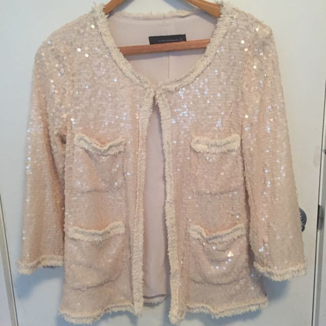 Cream Sequined Ladies Jacket By Zara