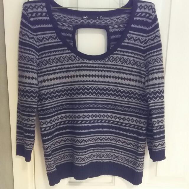 Dotti 3/4 Sleeve Navy & Grey Knit