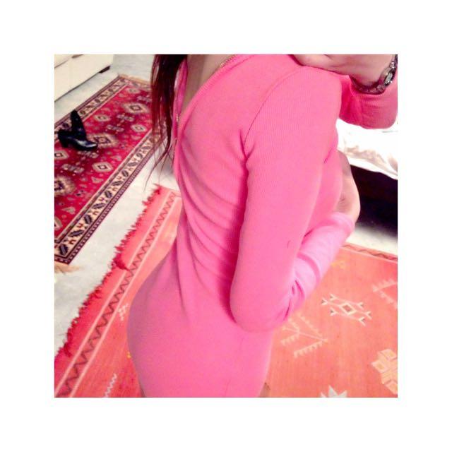 Double Zip Adjustable Tight Pink Dress