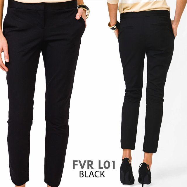 FOREVER 21 - WOMAN LONG PANTS BRANDED BLACK