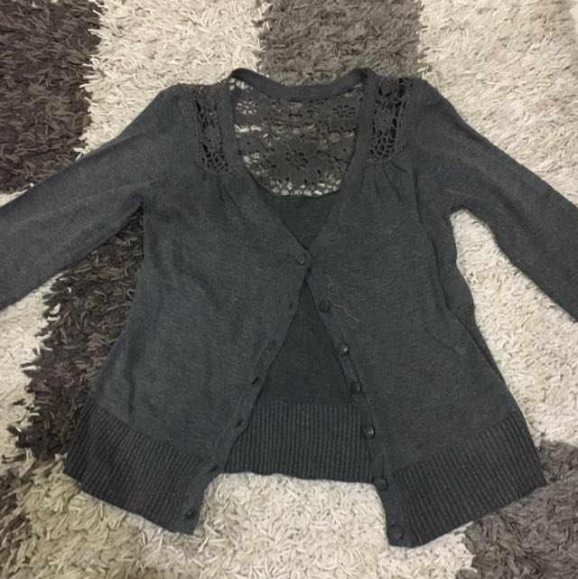 lace grey cardigan