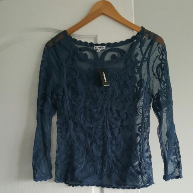 Lace Navy Top