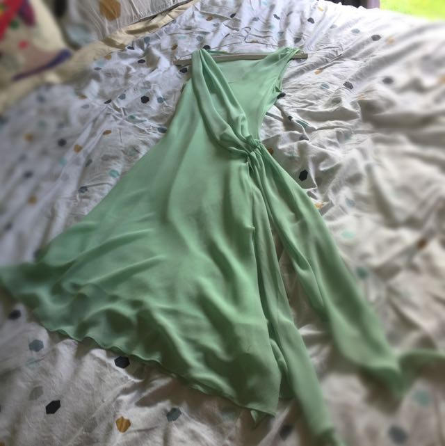 Ladies Green Chiffon Dress - Size 8
