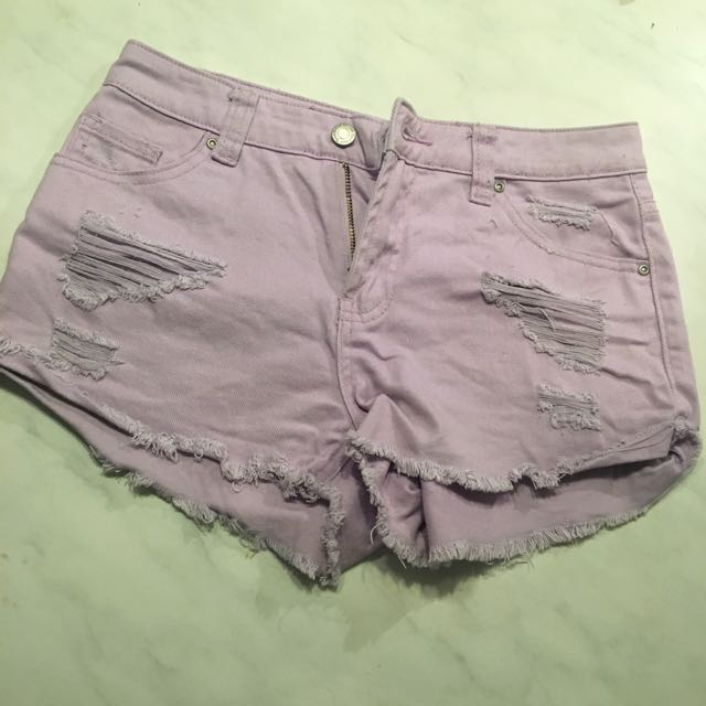Lilac Ripped Denim Shorts Size 8