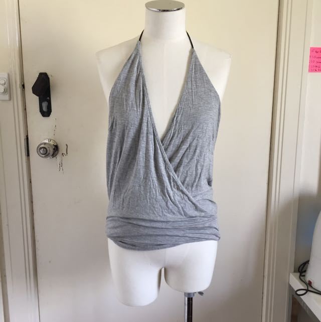 PAPERHEART Halterneck/Low neck Gray Clubbing Top Size 10 AUD$15