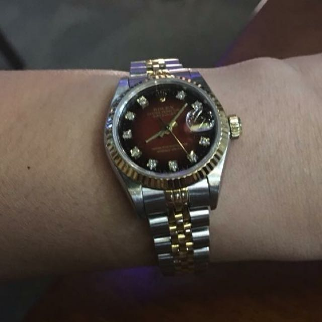 Rolex Ladies Datejust Red Graduated dial with Diamonds,2-tone