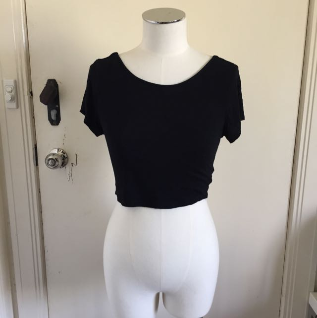 SHOWPO Black Cut out Crop Top Sz 10 AUD$10