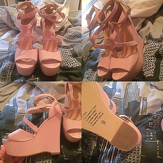 Size 9 ZU Heels Baby Pink Wedges