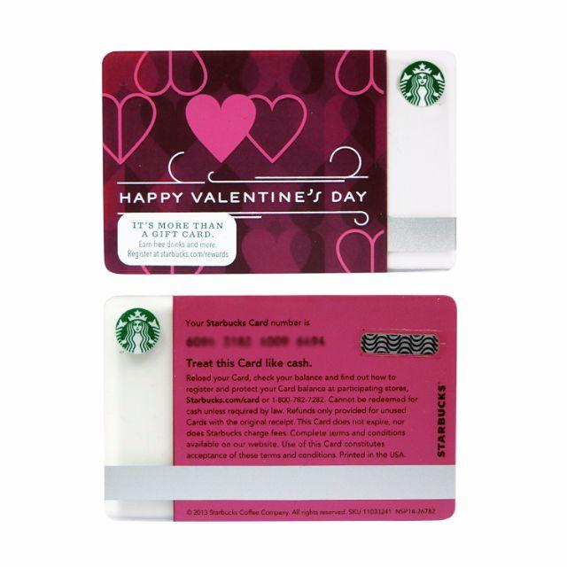 Starbucks Valentine Card 2014 美版 Sc037 Tickets Vouchers